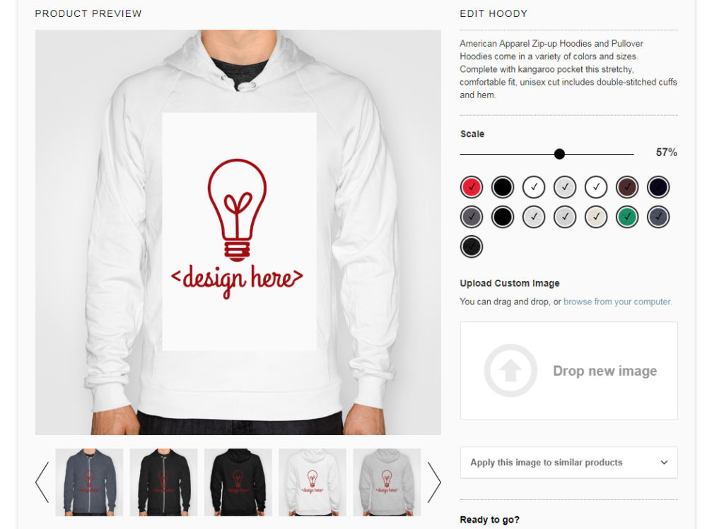 society6 hoodie design edit interface